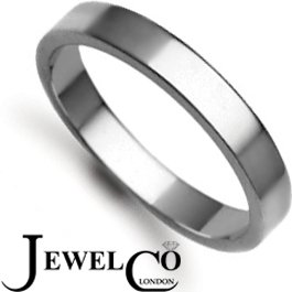 Jewelco London Bespoke Hand-Made 9 carat White Gold 3mm Flat Wedding / Commitment Ring, (3.4g) - Size J