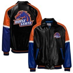 NCAA Boise State Broncos Black Pleather Varsity Jacket (XX-Large) at Amazon.com