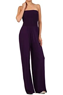 Kiwi Co. Alexa Solid Strapless Jumpsuit Purple Medium