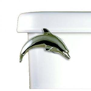Functional Fine Art Dolphin Chrome Decorative Toilet Flush Handle / Tank Trip Lever - Side Tank Mount