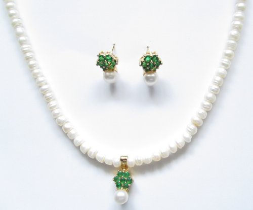 Genuine Freshwater Pearl Set White with Matching Studs