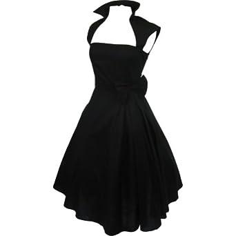 Skelapparel Rockabilly Vintage Design Black Belted Party Dress - 6