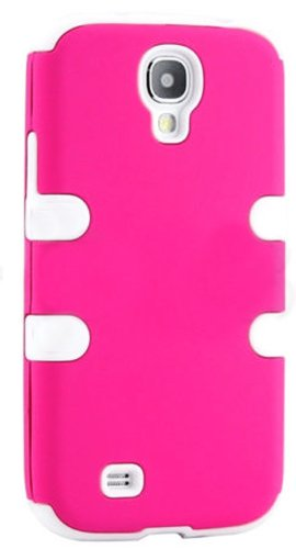 """Mylife (Tm) White - Rose Pink Flat Color Design (3 Piece Hybrid) Hard And Soft Case For The Samsung Galaxy S4 """"Fits Models: I9500, I9505, Sph-L720, Galaxy S Iv, Sgh-I337, Sch-I545, Sgh-M919, Sch-R970 And Galaxy S4 Lte-A Touch Phone"""" (Fitted Front And Back"""