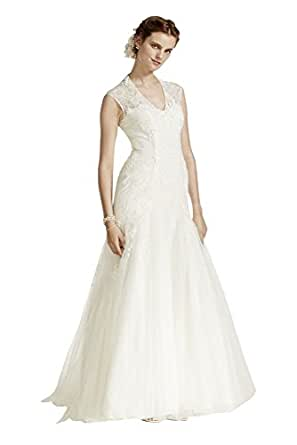 Cap Sleeve Trumpet Lace Wedding Dress Style MS251005, Ivory, 0