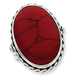 Genuine IceCarats Designer Jewelry Gift Sterling Silver Antiqued Oval Red Stone Ring Size 8.00