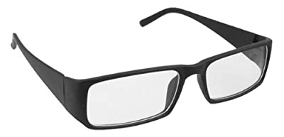 Plastic Black Arms Clear Lens Plano Glasses for Unisex