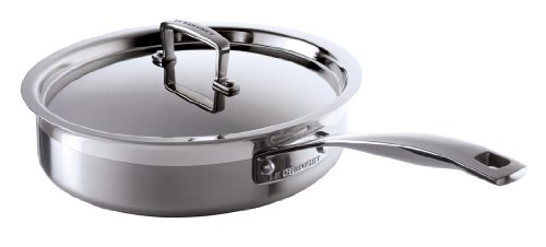 Le Creuset 3-Ply Stainless Steel Saute Pan with Lid, 24 cm