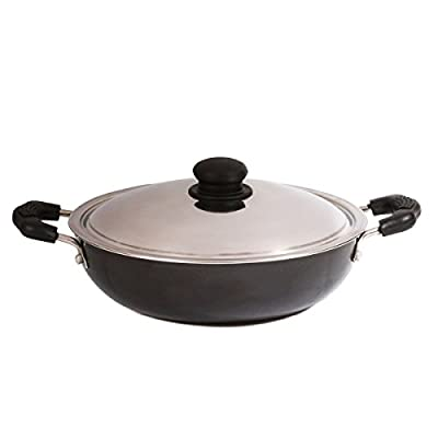 Brightflame 2 Burner Black Gas Stove & Aluminium Pressure Cooker 3 Ltr & Non Stick Kadai Medium