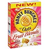 Post Honey Bunches Of Oats Fruit Blends Peach & Raspberry Cereal 14.5 oz