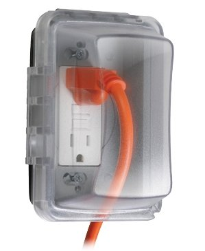 Taymac MM410C Weatherproof Single Outlet Cover Outdoor Receptacle Protector, 2-2/3 Inches Deep, Clear picture
