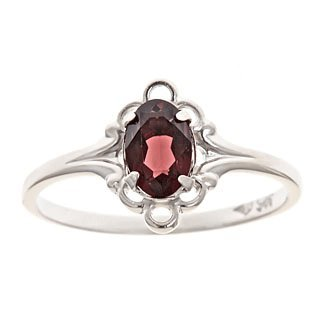 Oval Garnet CZ Ring for Girls in Sterling Silver