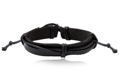 Fashion Weave Black Leather Wrap Cuff Bracelet Bangle Men's Jewelry