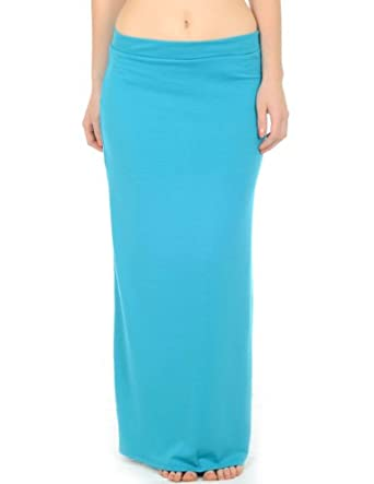 Long Polyester/spandex Maxi Skirt with Elastic Waist (Large, Teal)