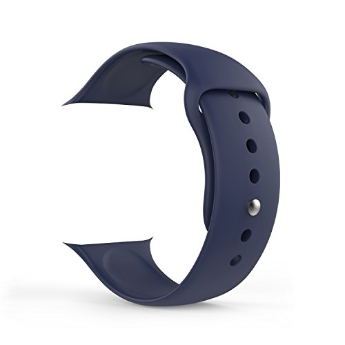 Apple Watch Band, MoKo en Silicone Souple un Replacement de Sport Band pour Tous les Modèles d'Apple Watch 42mm, BLEU Nuit (3 Pièces de bandes inclus pour 2 longueurs)