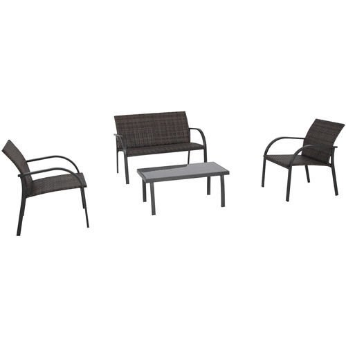 Garden Conversation Set - A wonderful 4-piece wicker outdoor patio furniture table and chairs set Guaranteed. This can also be used as a brown bistro set with love seat in your yard or on your deck or lawn. photo