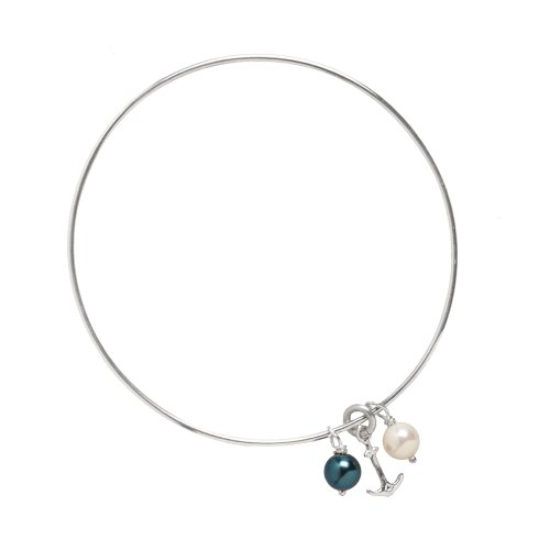Sterling Silver Anchor and Pearl Bangle Bracelet (3in)
