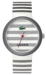 Lacoste GOA Grey and White Dial Striped Strap Unisex Watch 2010566