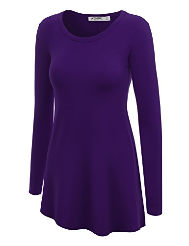 LL WT767 Womens Long Sleeve Scoop Neck Trapeze Tunic L DARK_PURPLE (Daphne Costume)