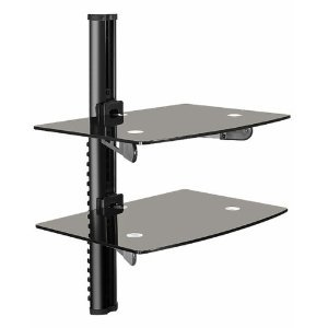 Mount-It Dual Shelf Wall Mount Bracket for LCD TVs, DVD Players, Cable Boxes, Playstation PS3, XBox and Other A/V Components with Cable Management System