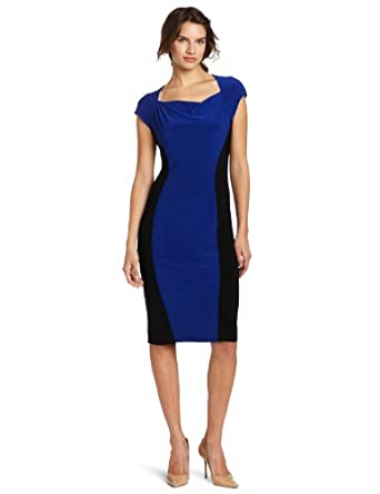 Jones New York Women's Matte Jersey Cowl Neck Hour Glass Dress, Blue, 4