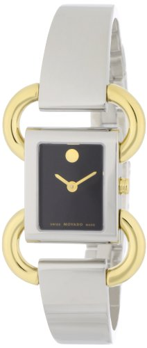 MOVADO Watch:Movado Women's 0606472 Linio Two-Tone Black Dial Bangle Watch Images