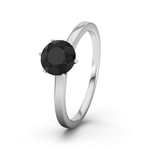 21DIAMONDS Women's Ring Hawaii Black Round Brilliant Cut Diamond Engagement Ring - Silver Engagement Ring