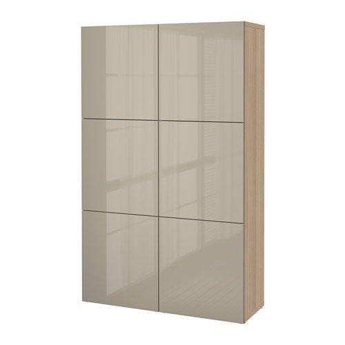 IKEA(イケア) BEST? 収納コンビネーション 扉付, ホワイトステインオーク調, セルスヴィーケン ハイグロス/ベージュ (99071625)