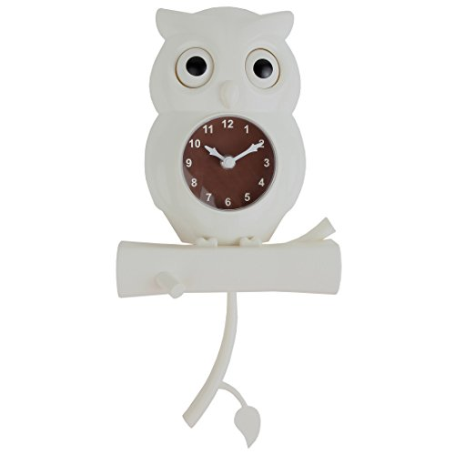 Lily's Home Pendulum Owl Clock with Revolving Eyes (White) (Electric Clock Parts compare prices)