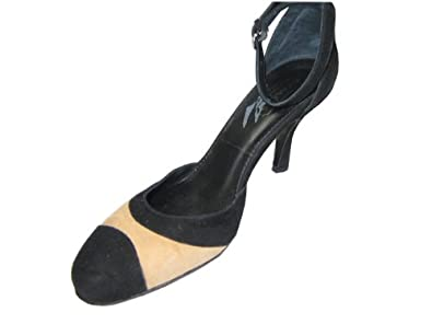 Coach Pump Shoes Ankle Strap Black & Coppachino Suede Size 6b
