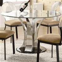 Cheap Halona Contemporary Black Round Dining Table With Glass Top (B004SCEU0C)