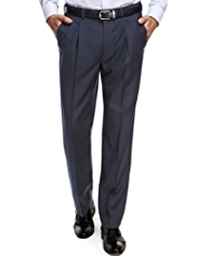 Active Waistband Supercrease™ Single Pleat Trousers with Wool