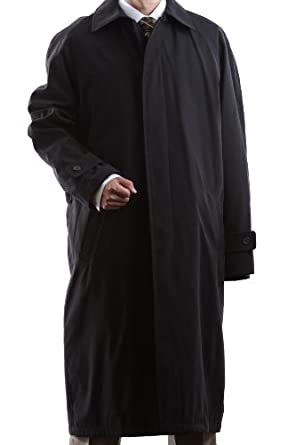 Buy Mens Single Breasted Black Full Length All Year Round Raincoat by Cianni
