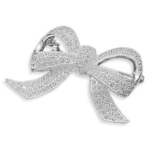 Silver Plated Clear Crystal Bow Fashion Pin