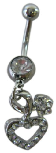 Body Jewelry - Cubic Zirconia Twisted Heart Rhinestone Belly Ring - Navel Jewelry