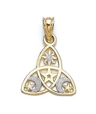 14ct Two-Tone Small Two-Tone Celestial Pendant - JewelryWeb