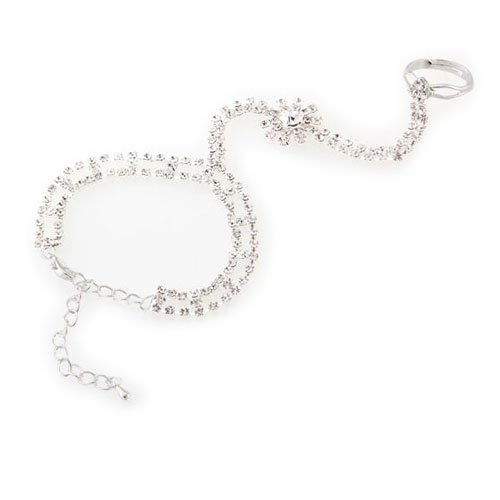 Silver Plated Rhinestone Crystal Chain Link Bracelet Slave Finger Ring