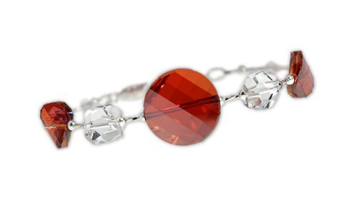 Sparkly Magma Red Twisty Crystal Sterling Silver Bracelet By Autumn's Glory Featuring Swarovski Elements