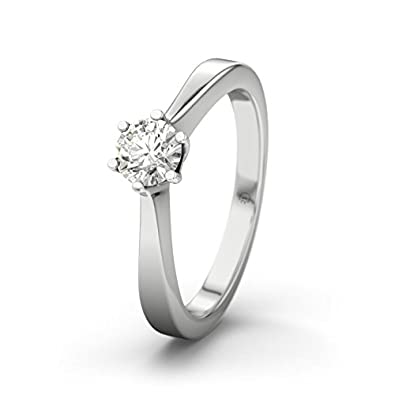 21DIAMONDS Women's Ring Lille 0.3 Ct Brilliant Cut Diamond Engagement Ring - Silver Engagement Ring
