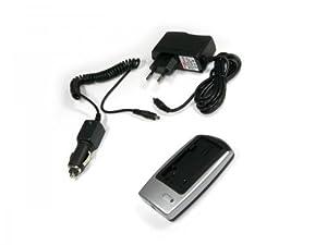Batterie chargeur câble (SLIM) pour Fuji NP-40, accumulateur Charger, Panasonic: CGA-S004 / DMW-BCB7 / Samsung: SLB-0737 / SLB-0837