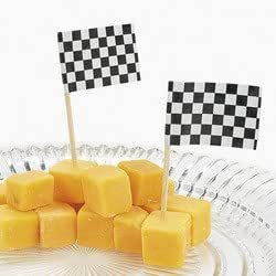 Fun Express Wooden Race Car Flag Picks, Black and White