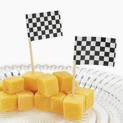Fun Express Wooden Race Car Flag Picks, Black and White