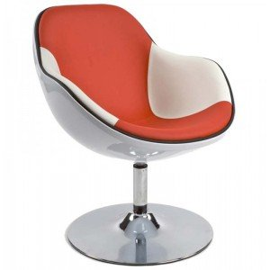 Paris Prix - Silla Design 'Moon' blanco y rojo
