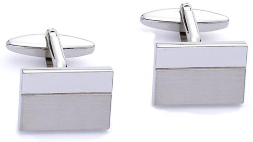 Code Red Base Metal Rhodium Plated Rectangular Cufflinks with Polished and Brushed Finish