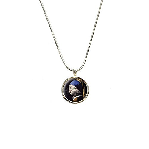 The Cat with the Pearl Earring Parody - Girl Johannes Vermeer Pendant with Sterling Silver Plated Chain