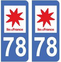2-autocollants-78-Yvelines-ile-de-france-plaque-immatriculation-dpartement-auto-78-angles-arrondis