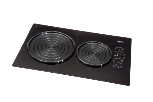 Kenyon B80105 6-1/2 And 8-Inch Silken 2-Burner Induction Cooktop With Landscape Mounting Touch Control, 240-Volt, Black