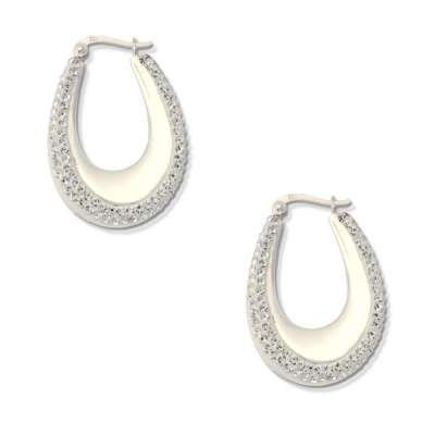 Nice Fashion 925 Sterling Silver Earrings Desgined with Horseshoe Crystal Hoops(WoW !With Purchase Over $50 Receive A Marcrame Bracelet Free)