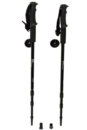 ProSource Anti Shock Trekking/Walking/Hiking Poles with Compass (Set of 2), Black