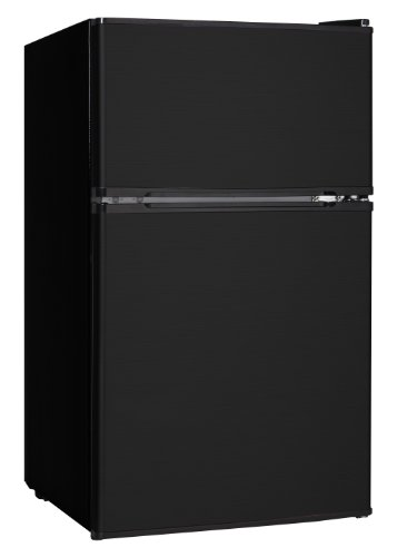 Midea WHD-113FB1 Compact Reversible Double Door Refrigerator and Freezer, 3.1 Cubic Feet, Black (2 Door Mini Fridge With Freezer compare prices)