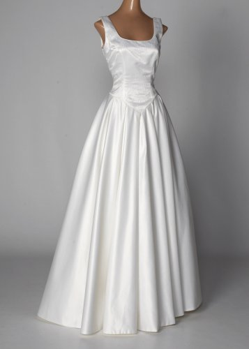 Ivory Satin Wedding Gown with Ball Skirt
